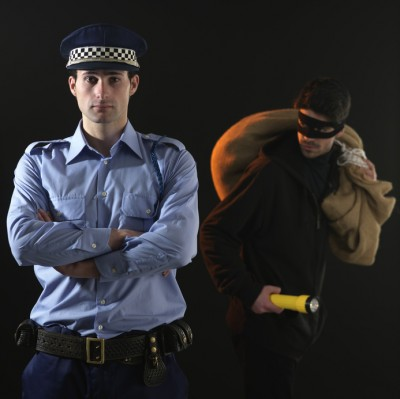 Static Security Guards in action with a robber. Visual example to put across the idea of a guard