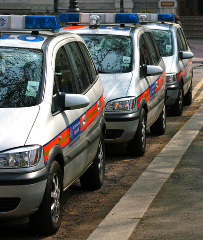 Line Of Police Cars In England