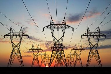 Pylons With Sunset Background
