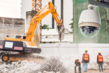 Construction Site Background With CCTV In Corner