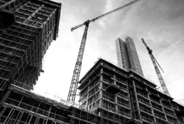 Black & White Image Of Construction Site